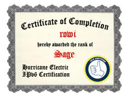 """IPv6-Zertifizierung als """"Guru"""" bei HE.net"""